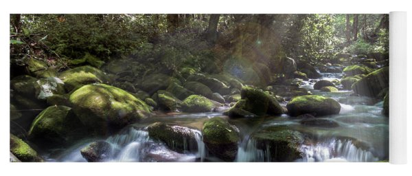 Yoga Mat featuring the photograph Woodland Falls by Patti Deters
