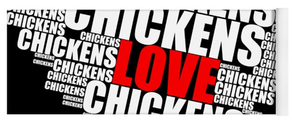 Word Cloud White Love Chickens Yoga Mat