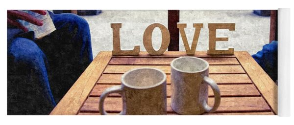 Word Love Next To Two Cups Of Coffee On A Table In A Cafeteria,  Yoga Mat