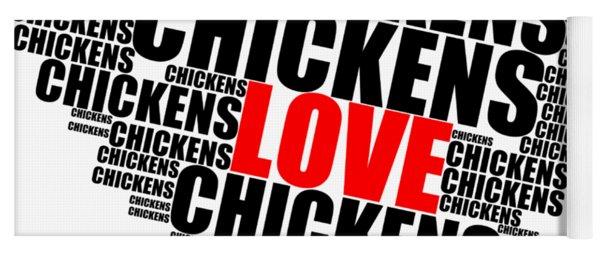 Wordcloud Love Chickens Black Yoga Mat