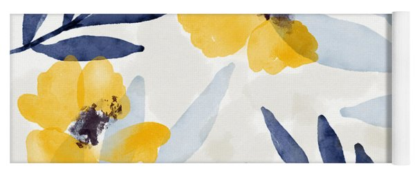 Yellow And Navy 1- Floral Art By Linda Woods Yoga Mat