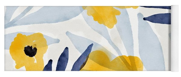Yellow And Navy 2- Floral Art By Linda Woods Yoga Mat