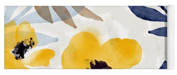 Yellow And Navy 3- Floral Art By Linda Woods Yoga Mat