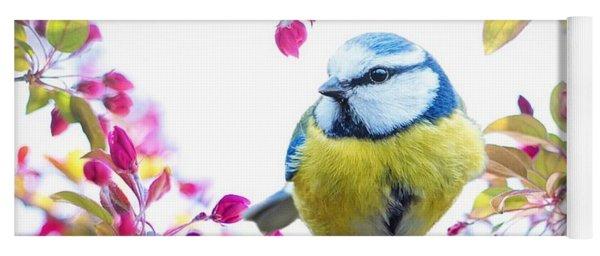 Yellow Blue Bird With Flowers Yoga Mat