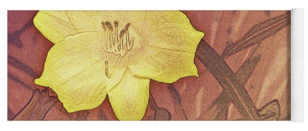 Yellow Day Lily Stencil On Sandstone Yoga Mat