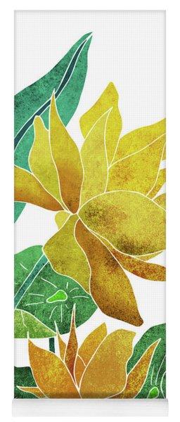 Yellow Lotus Flower - Botanical, Floral, Tropical Art - Modern, Minimal Decor - Yellow, Green Yoga Mat