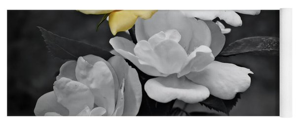 Yellow Rose Cluster Partial Color Yoga Mat