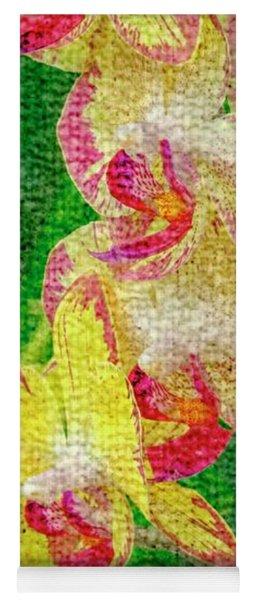 Yellow/rouge Orchids Yoga Mat