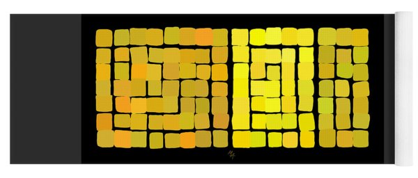 Yoga Mat featuring the digital art Yellow Triptych by Attila Meszlenyi