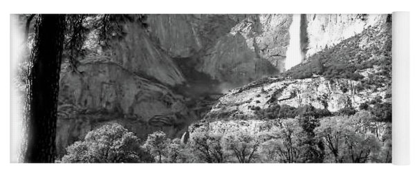 Yosemite Falls - Black And White Yoga Mat