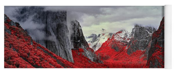 Yosemite Valley In Red Yoga Mat