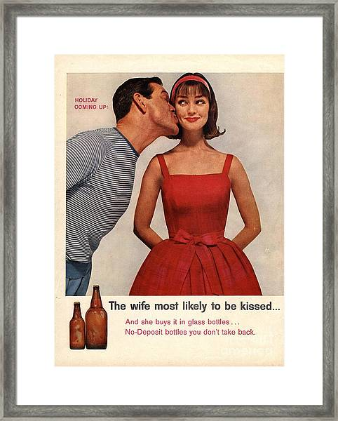 1950s Usa Kissing Sexism Framed Print