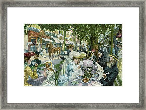 A Busy Time In The 'alte  Wiese' Cafe Framed Print by Mary Evans Picture Library