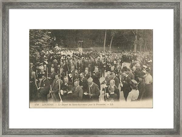A Procession At Lourdes Framed Print