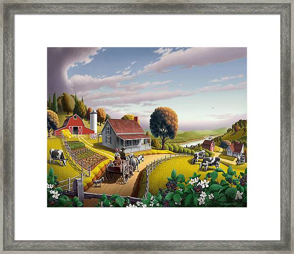 Appalachian Blackberry Patch Rustic Country Farm Folk Art Landscape - Rural Americana - Peaceful Framed Print