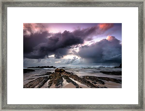 Around The World On A Boat Rock Framed Print