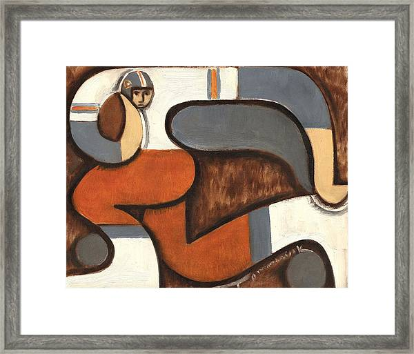 Broncos Abstract Football Player Framed Print