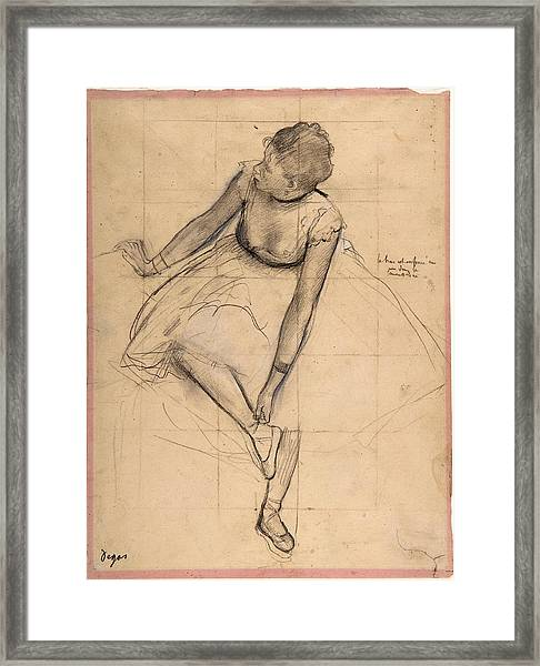 Framed Print featuring the drawing  	Dancer Adjusting Her Slipper by Edgar Degas