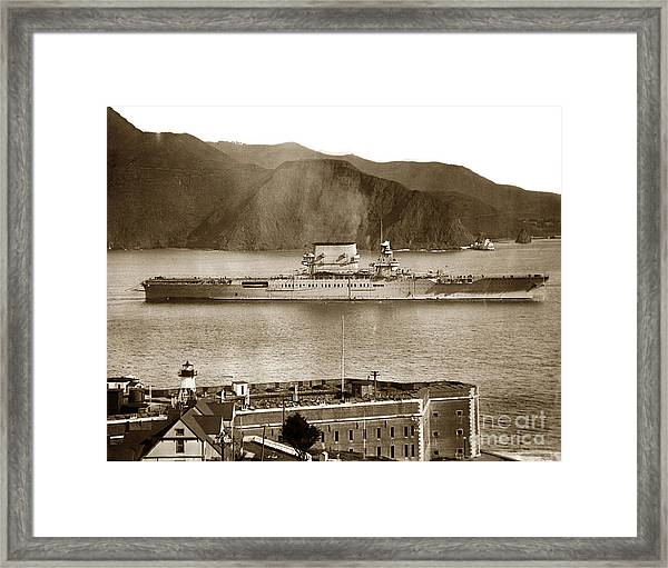U. S. S. Lexington Cv-2 Fort Point Golden Gate San Francisco Bay California 1928 Framed Print