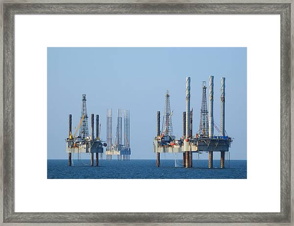 Four Jack Up Platforms Framed Print