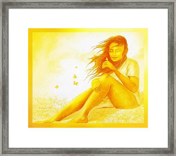 Golden  Butterfly  Girl Framed Print