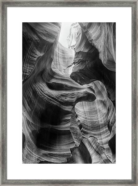 Heavenly Light - Black And White Framed Print