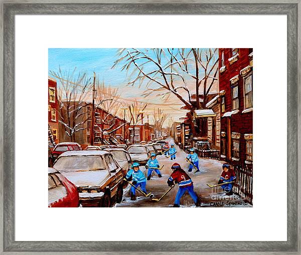Hockey Art- Verdun Street Scene - Paintings Of Montreal Framed Print