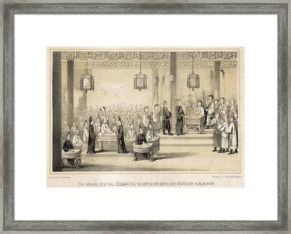 Kublai Khan Revives The  Imperial Framed Print