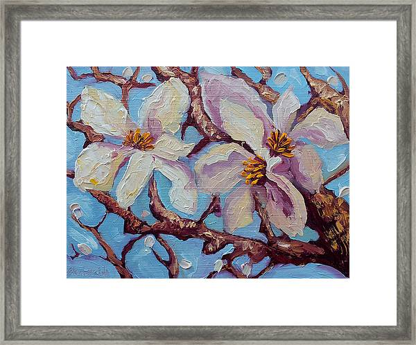 Magnolia Flower Painting Oil On Canvas Fine Art By Ekaterina Chernova  Framed Print