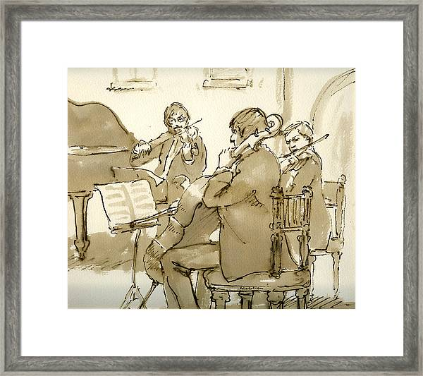 Original Pen And Ink Drawing Three Musicians In Concert Framed Print