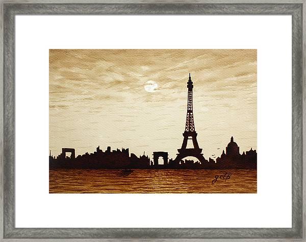 Paris Under Moonlight Silhouette France Framed Print
