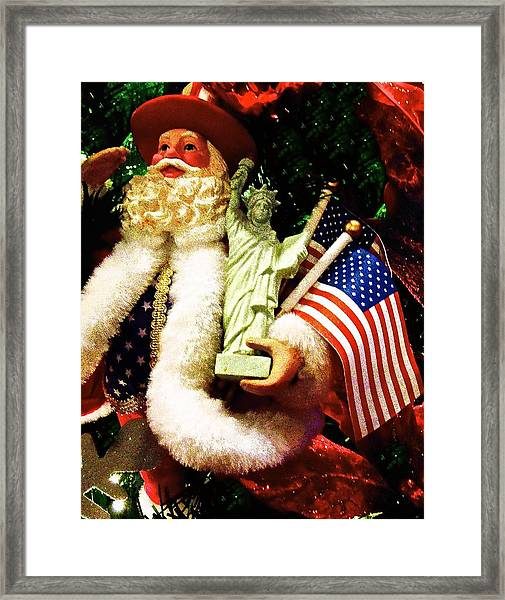 Patriotic Santa Framed Print