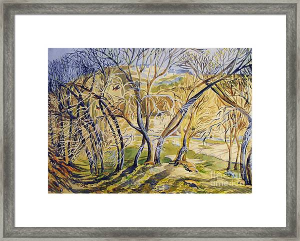 Plin Air Water Color Gypsum Creek Area Framed Print by Annie Gibbons