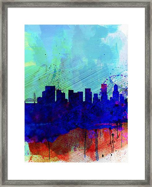 Portland Watercolor Skyline Framed Print
