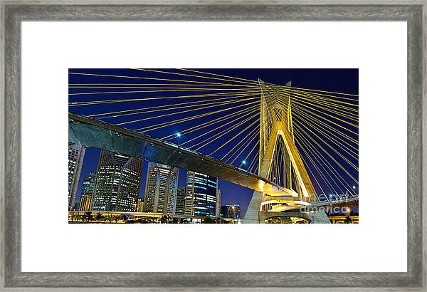Sao Paulo's Iconic Cable-stayed Bridge  Framed Print