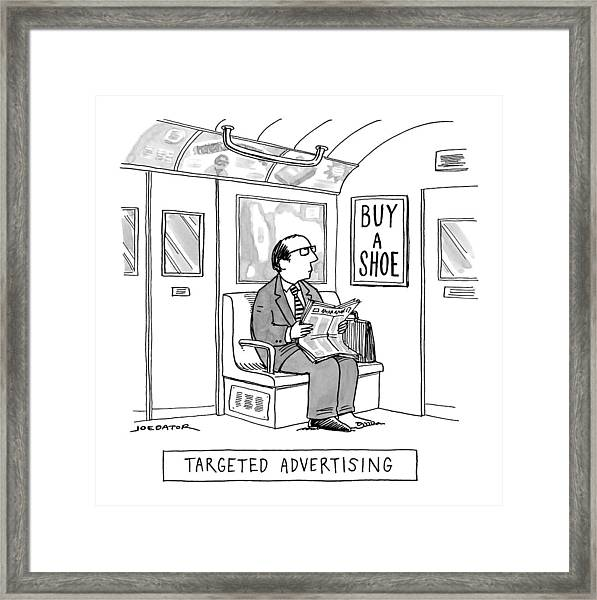 Targeted Advertising A Man Sits On The Subway Framed Print