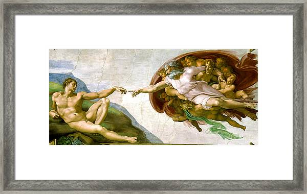Framed Print featuring the painting   The Creation Of Adam by Michelangelo di Lodovico Buonarroti Simoni