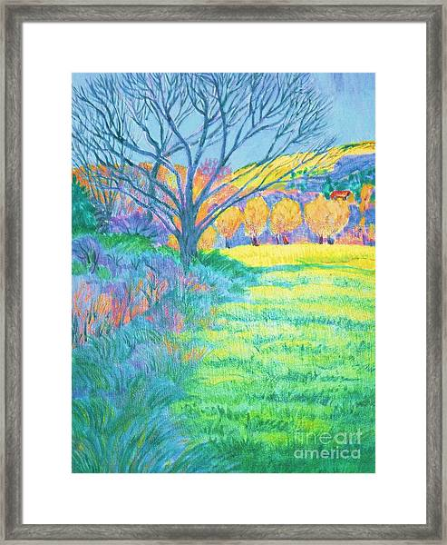 Tree In Field Painting Framed Print by Annie Gibbons