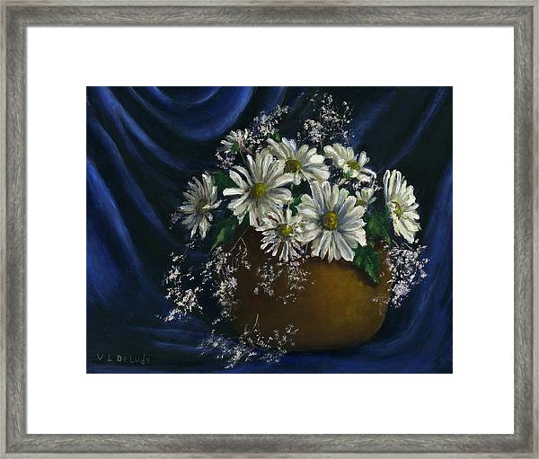 White Daisies In Blue Fabric Still Life Art Framed Print