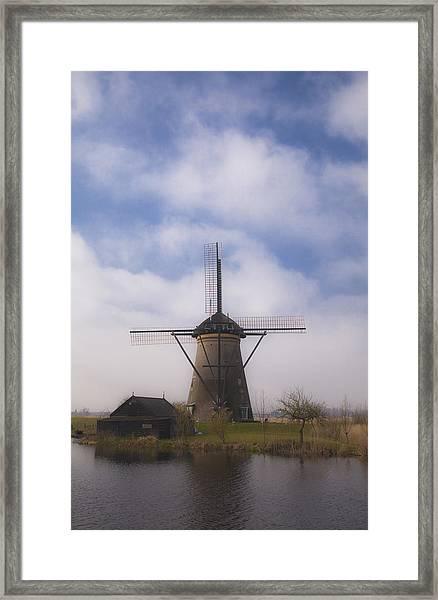 Windmill In Kinderdijk Netherlands Framed Print
