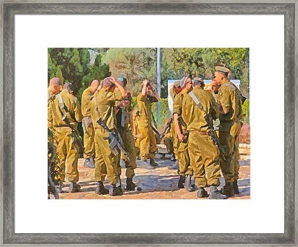 Yarmulkes And Rifles Framed Print