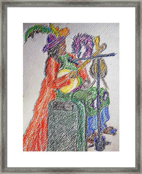 03162015 Digital Pastel Street Music Person Framed Print