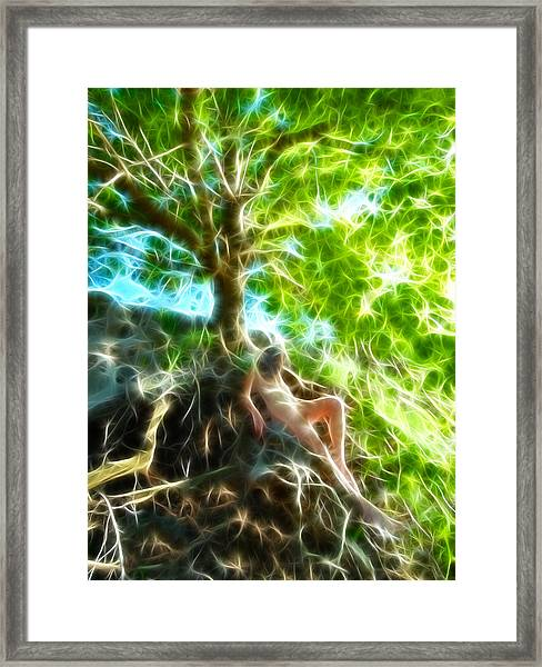 0789 Abstract Figure Energy Nude In Nature Under Tree Framed Print
