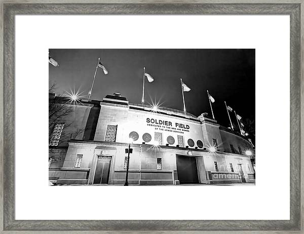 0879 Soldier Field Black And White Framed Print