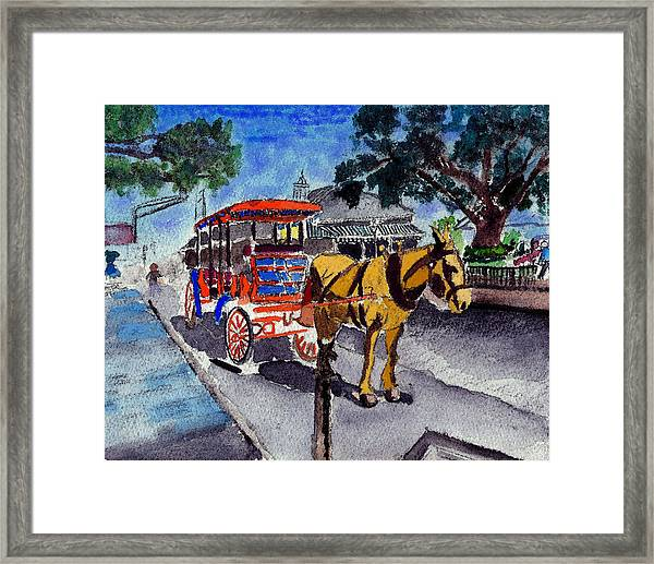 090514 New Orleans Carriages Watercolor Framed Print