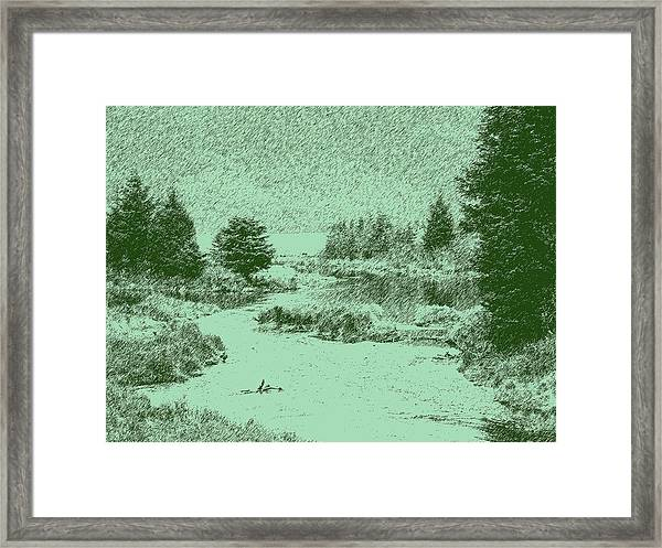 092214 Digital Pen Drawing Alaska Framed Print