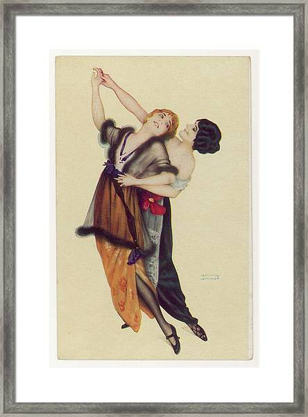 Two Stylishly Dressed Ladies  Dance Framed Print by Mary Evans Picture Library