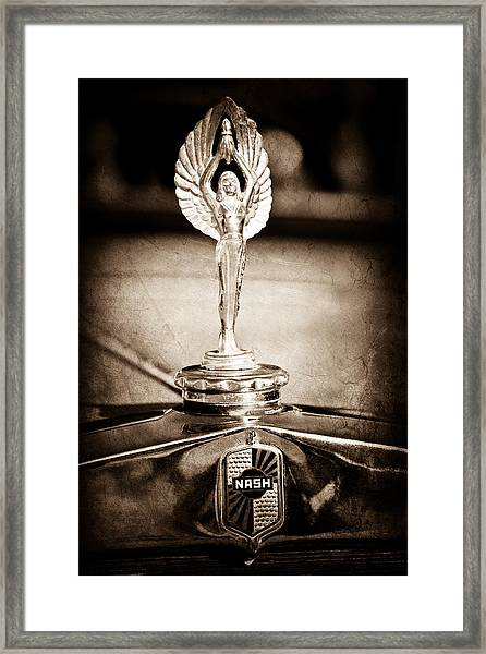 1928 Nash Coupe Hood Ornament Framed Print