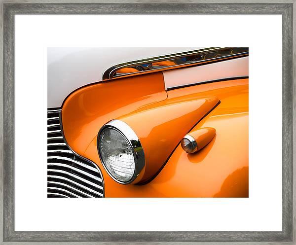 1940 Orange And White Chevrolet Sedan Framed Print