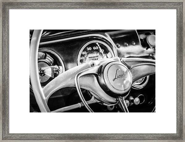 1941 Lincoln Continental Coupe Steering Wheel Emblem -0858c Framed Print